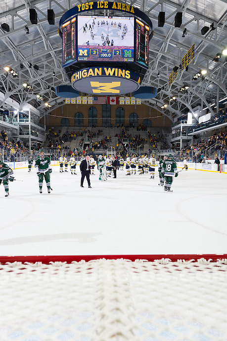 The University of Michigan men's hockey team beats Mercyhurst, 3-2, at Yost Ice Arena in Ann Arbor, Mich., on Oct. 18, 2015.