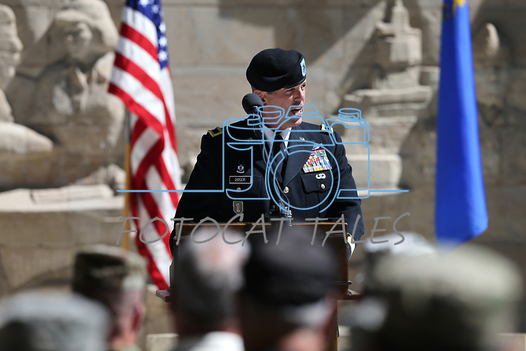 Nevada National Guard Brig. Gen. Zachary Doser speaks at the 19th Annual Flag Day Ceremony &amp; U.S. Army Birthday ceremony at the Nevada Veterans Memorial in Carson City, Nev. on Wednesday, June 14, 2017. <br />