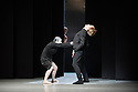 London, UK. 01.07.2014.  Nederlands Dans Theater opens at Sadler's Wells with a double bill of SEHNSUCHT and SCHMETTERLING, by Sol Leon and Paul Lightfoot. This piece is SCHMETTERLING, with dancers Aram Hasler, Danielle Rowe, Myrthe van Opstal and Jon Ole Olstad. Photograph © Jane Hobson..