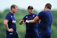 Bath Rugby coaches Barry Maddocks, Darren Edwards and Toby Booth have a word. Bath Rugby pre-season training session on August 9, 2016 at Farleigh House in Bath, England. Photo by: Patrick Khachfe / Onside Images