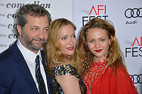 LOS ANGELES, CA. November 11, 2016: Director Judd Apatow &amp; wife actress Leslie Mann &amp; daughter Iris Apatow at premiere of &quot;The Comedian&quot;, part of the AFI Fest 2016, at the Egyptian Theatre, Hollywood.<br /> Picture: Paul Smith/Featureflash/SilverHub 0208 004 5359/ 07711 972644 Editors@silverhubmedia.com