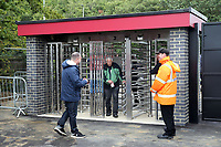 The new turnstiles at the North West corner of the ground being used before Stevenage vs Exeter City, Sky Bet EFL League 2 Football at the Lamex Stadium on 10th August 2019