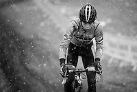 Wout Van Aert (BEL) during course recon &amp; training in the snow<br /> <br /> 2015 UCI World Championships Cyclocross <br /> Tabor, Czech Republic