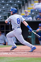 Ian Happ (8) of the Iowa Cubs at bat during a game against the Oklahoma City Dodgers at Chickasaw Bricktown Ballpark on April 9, 2016 in Oklahoma City, Oklahoma.  Oklahoma City defeated Iowa 12-1 (William Purnell/Four Seam Images)