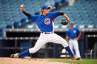 Pitcher Reid Schaller (37) of Lebanon Senior High School in Lebanon, Indiana playing for the Chicago Cubs scout team during the East Coast Pro Showcase on July 28, 2015 at George M. Steinbrenner Field in Tampa, Florida.  (Mike Janes/Four Seam Images)
