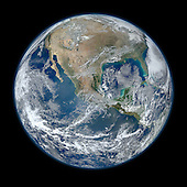 A 'Blue Marble' image of the Earth taken from the VIIRS instrument aboard NASA's most recently launched Earth-observing satellite - Suomi NPP. This composite image uses a number of swaths of the Earth's surface taken on January 4, 2012. The NPP satellite was renamed 'Suomi NPP' on January 24, 2012 to honor the late Verner E. Suomi of the University of Wisconsin.  Suomi NPP is NASA's next Earth-observing research satellite. It is the first of a new generation of satellites that will observe many facets of our changing Earth.  Suomi NPP is carrying five instruments on board. The biggest and most important instrument is The Visible/Infrared Imager Radiometer Suite or VIIRS..Credit: NASA/NOAA/GSFC/Suomi NPP/VIIRS/Norman Kuring via CNP
