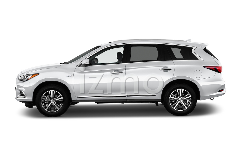 Car Driver side profile view of a 2017 Infiniti QX60 Hybrid 5 Door SUV Side View