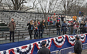 Partially empty bleachers are seen as United States President Donald Trump and First Lady Melania Trump participate in their inaugural parade after being sworn-in as the 45th President in Washington, D.C. on January 20, 2017.  <br /> Credit: Kevin Dietsch / Pool via CNP
