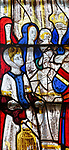 Sixteenth century stained glass window detail Fairford, Gloucestershire, England, UK hidden portrait Margaret Tudor, Queen of Scotland 1489-1541