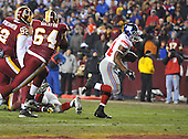 Landover, MD - December 21, 2009 -- New York Giants running back Ahmad Bradshaw (344) scores the second touchdown in the second quarter against the Washington Redskins at FedEx Field in Landover, Maryland on Monday, December 21, 2009..Credit: Ron Sachs / CNP.(RESTRICTION: NO New York or New Jersey Newspapers or newspapers within a 75 mile radius of New York City)