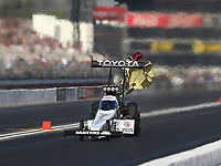 Feb 9, 2018; Pomona, CA, USA; NHRA top fuel driver Antron Brown during qualifying for the Winternationals at Auto Club Raceway at Pomona. Mandatory Credit: Mark J. Rebilas-USA TODAY Sports