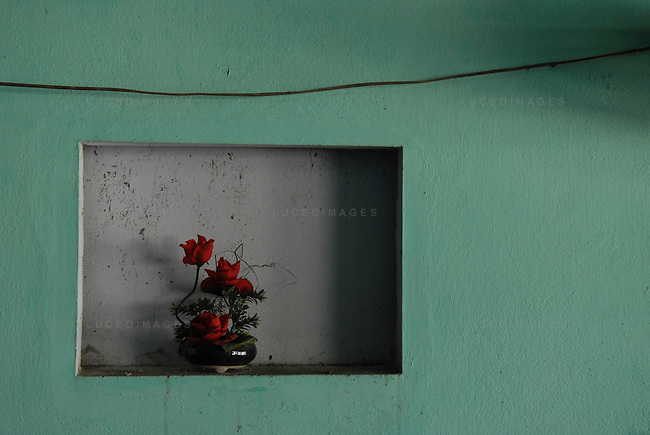 roses sit in a vase on the wall of a restaurant in Ho Chi Minh City, Vietnam.