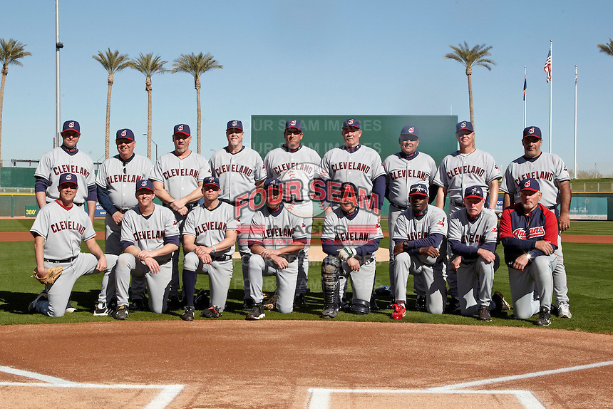 Staff photo at the Cleveland Indians Fantasy Camp at Goodyear Stadium on January 19, 2012 in Goodyear, Arizona.  Top Row (L-R) is Steve Karsay, Gary Bell, Joe Charboneau, Cory Snyder, Dave Burba, Len Barker, Sid Monge, Pat Tabler, Chad Ogea; Kneeling (L-R) Scott Bailes, Jason Stanford, Brian Anderson, Rick Manning, Kevin Rhomberg, Mike Jackson, Rick Waits, and Mike Hargrove.  (Mike Janes/Four Seam Images)