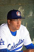 Chattanooga Lookouts pitcher Andres Santiago (48) in the dugout before a game against the Birmingham Barons on April 24, 2014 at AT&T Field in Chattanooga, Tennessee.  Chattanooga defeated Birmingham 5-4.  (Mike Janes/Four Seam Images)