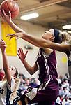 WATERBURY CT. 16 February 2018-021619SV02-#0 Sarah Wisniewski of Naugatuck puts up a basket against Ansonia in overtime during the NVL girls basketball tournament in Waterbury Saturday.<br /> Steven Valenti Republican-American