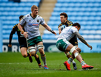 5th January 2020; Ricoh Arena, Coventry, West Midlands, England; English Premiership Rugby, Wasps versus Northampton Saints; Courtney Lawes of Northampton Saints puts a big hit on Matteo Minozzi of Wasps - Editorial Use