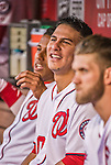 22 May 2015: Washington Nationals catcher Wilson Ramos watches play from the dugout during game action against the Philadelphia Phillies at Nationals Park in Washington, DC. The Nationals defeated the Phillies 2-1 in the first game of their 3-game weekend series. Mandatory Credit: Ed Wolfstein Photo *** RAW (NEF) Image File Available ***
