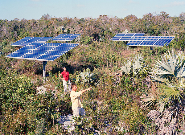 Tiamo Resort owners Michael Hartman and Petagay Hollinseed-Hartman inspect Tiamo's Solar Field. It includes 9 arrays of photovoltaic panels.