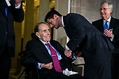 Former Senator Bob Dole is presented with the congressional Gold Medal, by U.S. House Speaker Paul Ryan, a Republican from Wisconsin, at the U.S. Capitol, in Washington D.C., U.S., on Wednesday, Jan. 17, 2018. At right is Senate Majority Leader Mitch McConnell, a Republican from Kentucky. Photographer: Al Drago/Bloomberg<br /> Credit: Al Drago / Pool via CNP