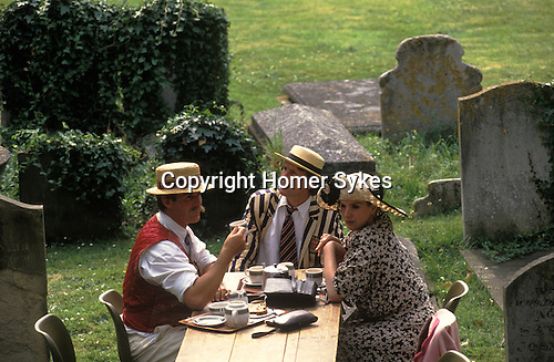 Henely on  Thames,  regatta week, the local church serves afternoon tea in the churchyard. Oxfordshire UK