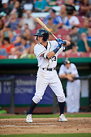 Kane County Cougars left fielder Ryan Grotjohn (33) at bat during a game against the West Michigan Whitecaps on July 19, 2018 at Northwestern Medicine Field in Geneva, Illinois.  Kane County defeated West Michigan 8-5.  (Mike Janes/Four Seam Images)