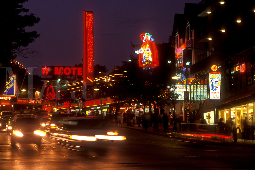 AJ0500, Niagara Falls, Ontario, Canada, The main drag in Niagara Falls is lit up at night.