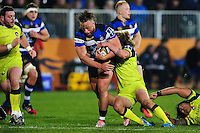 Max Lahiff of Bath Rugby takes on the Leicester Tigers defence. Anglo-Welsh Cup match, between Bath Rugby and Leicester Tigers on November 4, 2016 at the Recreation Ground in Bath, England. Photo by: Patrick Khachfe / Onside Images
