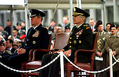 United States Army General Wesley K. Clark hands over the command of the Supreme Headquarters Allied Powers Europe (SHAPE) to United States Air Force General Joseph W. Ralston at Casteau, Mons, Belgium on May 3, 2000.  Left to right: General Joseph Ralston; General Wesley Clark.  .Credit: NATO via CNP.