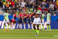 REIMS, FRANCE - JUNE 08: Asisat Oshoala #8 reacts to a Norwegian goal during a game between Norway and Nigeria at Stade Auguste-Delaune on June 8, 2019 in Reims, France.
