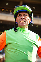DEL MAR,CA-SEPTEMBER 02: Gary Stevens, after the Del Mar Juvenile Turf at Del Mar Race Track on September 2,2018 in Del Mar,California (Photo by Kaz Ishida/Eclipse Sportswire/Getty Images)