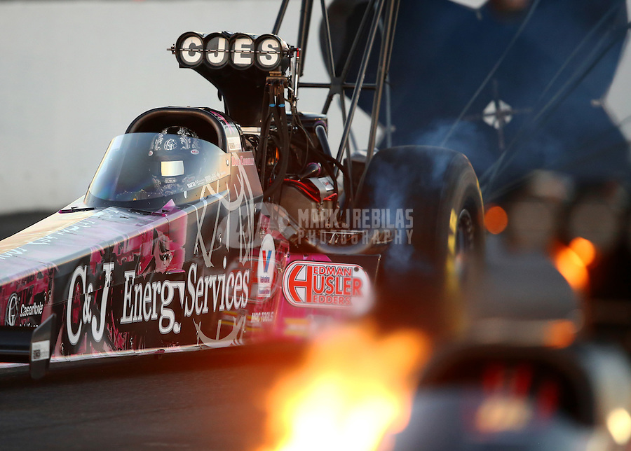 Nov 14, 2015; Pomona, CA, USA; NHRA top fuel driver Dave Connolly during qualifying for the Auto Club Finals at Auto Club Raceway at Pomona. Mandatory Credit: Mark J. Rebilas-USA TODAY Sports
