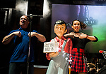 REASONS TO BE CHEERFUL by Sirett;<br /> Jude Mahon as Debbie - sign language interpreter;<br /> Wayne 'Pickles' Norman as Pickles - audio describer;<br /> Directed by Sealey;<br /> Associate director: Beeton;<br /> Writer: Sirett;<br /> Designer: Ashcroft;<br /> Assistant designer: Charlesworth;<br /> Lighting designer: Scott;<br /> Sound designer: Gibson;<br /> Musical director: Hickman;<br /> Choreographer: Smith;<br /> Video designer: Haig;<br /> Projection design: Mclean; <br /> Music supervisor and Arrangements: Hyman;<br /> Voice coach: Holt; Casting: Hughes CDG<br /> BSL consultant: Jackson<br /> Audio description consultant: Oshodi<br /> Graeae Theatre Company;<br /> at The Belgrade Theatre, Coventry, UK;<br /> 8 September 2017;<br /> Credit: Patrick Baldwin;