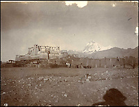 BNPS.co.uk (01202 558833)<br /> Pic: HAldridge/BNPS<br /> <br /> ***Please Use Full Byline***<br /> <br /> British camp near Everest.<br /> <br /> A collection of never-seen-before photographs taken during the controversial 1903 British Mission to Tibet has come to light.<br /> <br /> The rare snaps were taken by an officer during the campaign - the first time the British were given access to the country.<br /> <br /> They depict the haunting beauty of the secluded country and brought images of Tibeten landscapes including Mount Everest to the west for the first time.<br /> <br /> The set contains 140 sepia pictures of Tibetan buildings, people and soldiers, including a particularly poignant photograph of a British gunner manning a Maxim machine gun.<br /> <br /> Early in the campaign, troops gunned down 700 lightly armed Tibetan monks standing in their path in the infamous Massacre of Chumik Shenko.<br /> <br /> The slaughter was so brutal that Lieutenant Arthur Hadow, commander of the Maxim guns detachment, wrote afterwards: &quot;I got so sick of the slaughter that I ceased fire.<br /> <br /> &quot;I hope I shall never again have to shoot down men walking away.&quot;<br /> <br /> The expedition began in December 1903 when around 3,000 troops marched into the country from India led by Colonel Francis Younghusband.<br /> <br /> It was initiated by Lord George Curzon, the Viceroy of India, to prevent Russia gaining influence in Tibet.<br /> <br /> They reach the capital Lhasa in August 1904, when the government signed a treaty effectively turning the country into a British protectorate.<br /> <br /> The photo archive is being sold by desecendents of one of the officers on the trip from southern England after languishing in a drawer for years.<br /> <br /> The collection is tipped to fetch 1,200 pounds when it goes under the hammer.