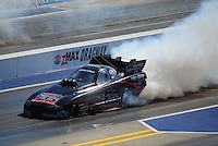 Apr. 14, 2012; Concord, NC, USA: NHRA funny car driver Blake Alexander during qualifying for the Four Wide Nationals at zMax Dragway. Mandatory Credit: Mark J. Rebilas-