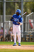 Indiana State Sycamores Ellison Hanna II (24) bats during a game against the Chicago State Cougars on February 23, 2020 at North Charlotte Regional Park in Port Charlotte, Florida.  Chicago State defeated Indiana State 3-0.  (Mike Janes/Four Seam Images)