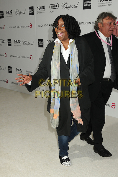 Whoopi Goldberg.20th Annual Elton John Academy Awards Viewing Party held at West Hollywood Park, West Hollywood, California, USA..February 26th, 2012.oscars full length black jacket hand arm mouth open glasses suit grey gray scarf .CAP/ADM/BP.©Byron Purvis/AdMedia/Capital Pictures.