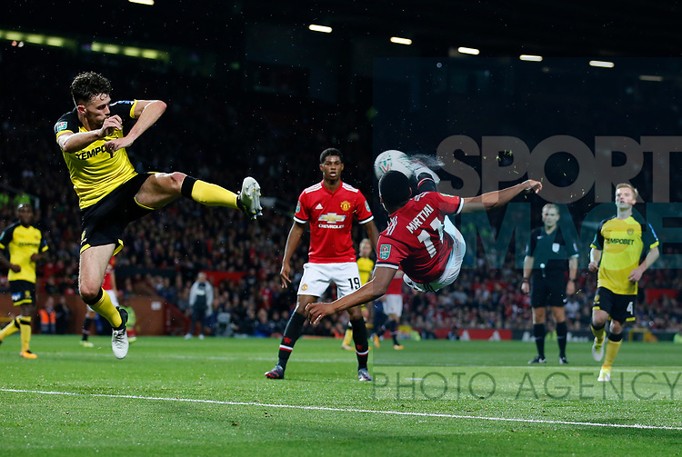 Anthony Martial of Manchester United attempts a flying volley during the Carabao Cup Third Round match at the Old Trafford Stadium, Manchester. Picture date 20th September 2017. Picture credit should read: Simon Bellis/Sportimage