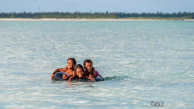 Local children playing, Christmas Island (Kiritimati), Kiribati