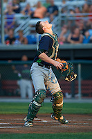 Vermont Lake Monsters catcher Sean Murphy (33) looks for a popup during a game against the Auburn Doubledays on July 12, 2016 at Falcon Park in Auburn, New York.  Auburn defeated Vermont 3-1.  (Mike Janes/Four Seam Images)
