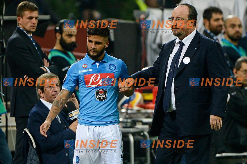 Lorenzo Insigne, Rafael Benitez Napoli<br /> Milano 19-10-2014 Stadio Giuseppe Meazza - Football Calcio Serie A Inter - Napoli. Foto Giuseppe Celeste / Insidefoto