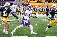 University at Albany Men's Lacrosse defeats Drexel 18-5 on Feb. 24 at Casey Stadium.  UAlbany midfielder Peter Schwab (#42) (Photo by Bruce Dudek / Cal Sport Media/Eclipse Sportswire)