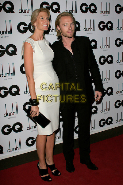 YVONNE KEATING & RONAN KEATING.Inside Arrivals at the GQ Men of the Year Awards at the Royal Opera House, Covent Garden, London, England,.2nd September 2008..full length white cream RM roland mouret dress black clutch bag shoes suit married husband wife .CAP/AH.©Adam Houghton/Capital Pictures