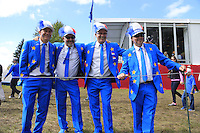 Team Europe French fans show their colours during Thursday's Practice Day of the 41st RyderCup held at Hazeltine National Golf Club, Chaska, Minnesota, USA. 29th September 2016.<br /> Picture: Eoin Clarke | Golffile<br /> <br /> <br /> All photos usage must carry mandatory copyright credit (&copy; Golffile | Eoin Clarke)