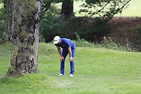 Dustin Johnson (USA) in the trees for his 2nd shot on the 1st hole during Sunday's Final Round of the WGC Bridgestone Invitational 2017 held at Firestone Country Club, Akron, USA. 6th August 2017.<br /> Picture: Eoin Clarke | Golffile<br /> <br /> <br /> All photos usage must carry mandatory copyright credit (&copy; Golffile | Eoin Clarke)