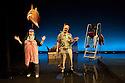 "London, UK. 13/02/2012. Cardboard Citizens present ""A Few Man Fridays"" at the Riverside Studios. Picture shows: Johanna Allitt (as Irene Fricke), Tom Hodgkins (as Rolf Fricke) and Ansu Kabia (as Prosper). Photo credit: Jane Hobson"