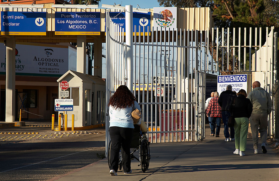 Tourists on their way into Los Algodones, Mexico through the border at Andrade, California.