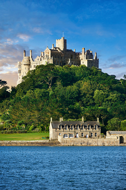 St Michael's Mount tidal island,  Mount's Bay, Cornwall, England, United Kingdom.
