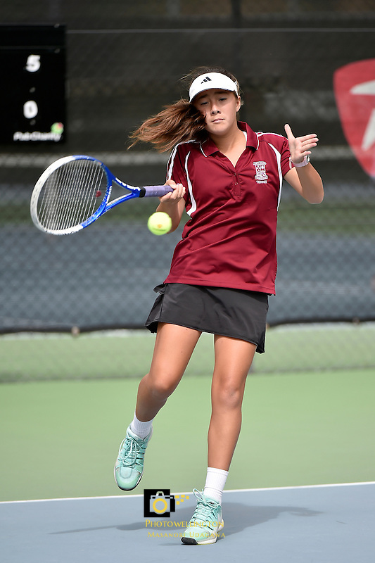 Action from the Tennis - CSW Open Individual Champs at Renouf Centre, Wellington, New Zealand on Wednesday 25 February 2015. <br /> Photo by Masanori Udagawa. <br /> www.photowellington.photoshelter.com.
