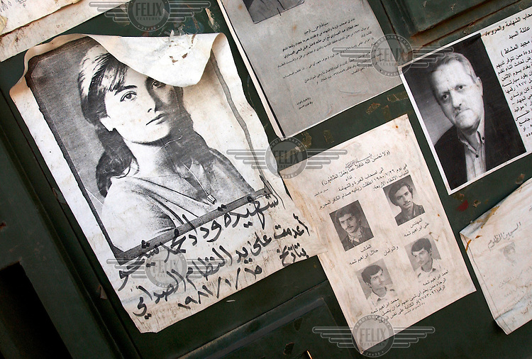 A poster of a missing Kurdish woman outside the Prisoners' Society, an institute which tries to locate missing persons. During the reign of Saddam Hussein thousands of people were 'disappeared'.