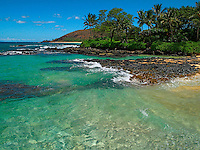 Clear water at Secret Beach in Makena, Maui, Hawaii.